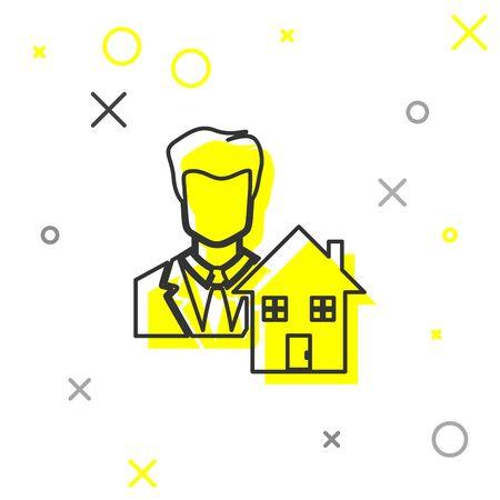 Grey line Realtor icon isolated on white background. Buying house. Vector Illustration