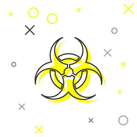 Grey line Biohazard symbol icon isolated on white background. Vector Illustration