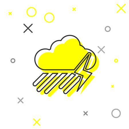 Grey line Cloud with rain and lightning icon isolated on white background. Rain cloud precipitation with rain drops.Weather icon of storm. Vector Illustration