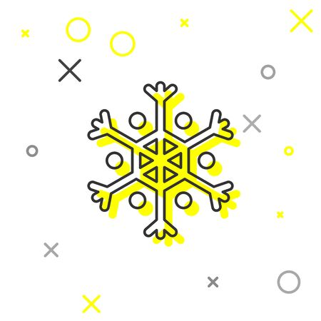 Grey line Snowflake icon isolated on white background. Vector Illustration