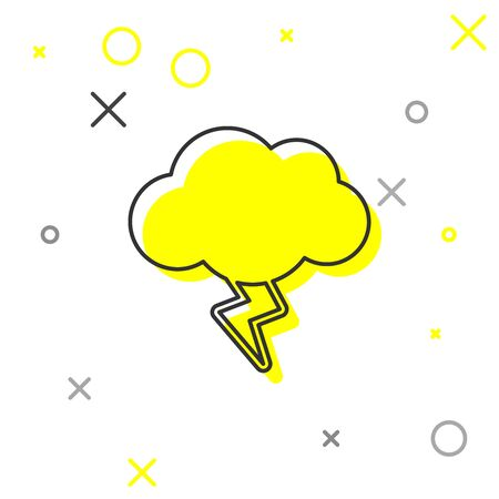 Grey line Storm icon isolated on white background. Cloud and lightning sign. Weather icon of storm. Vector Illustration Illustration