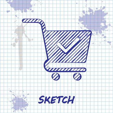 Sketch line Shopping cart with check mark icon isolated on white background. Supermarket basket with approved, confirm, done, tick, completed symbol. Vector Illustration