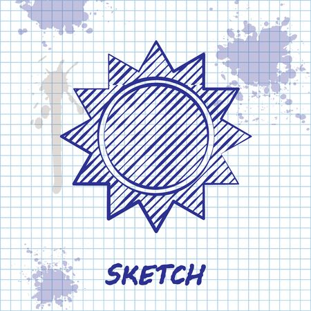 Sketch line Sun icon isolated on white background. Vector Illustration Illustration
