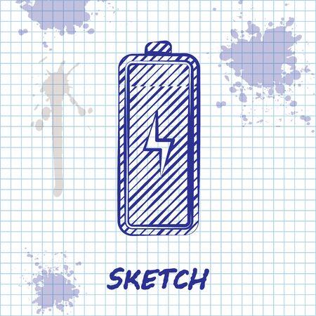 Sketch line Battery icon isolated on white background. Lightning bolt symbol. Vector Illustration  イラスト・ベクター素材