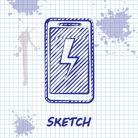 Sketch line Smartphone charging battery icon isolated on white background. Phone with a low battery charge. Vector Illustration