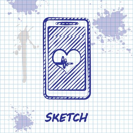 Sketch line Smartphone with heart rate monitor function icon isolated on white background. Vector Illustration