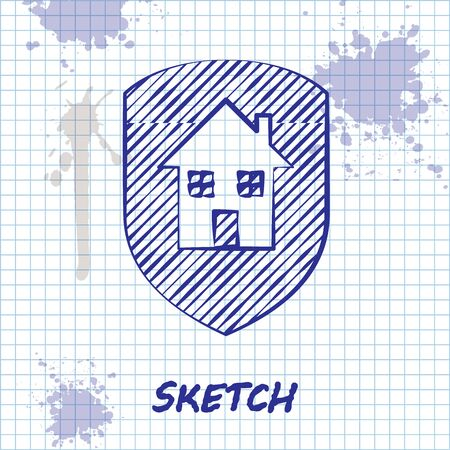 Sketch line House under protection icon isolated on white background. Home and shield. Protection, safety, security, protect, defense concept. Vector Illustration Foto de archivo - 130643503