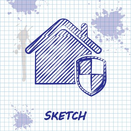 Sketch line House under protection icon isolated on white background. Home and shield. Protection, safety, security, protect, defense concept. Vector Illustration Foto de archivo - 130644853