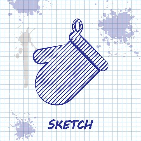 Sketch line Oven glove icon isolated on white background. Kitchen potholder sign. Cooking glove. Vector Illustration