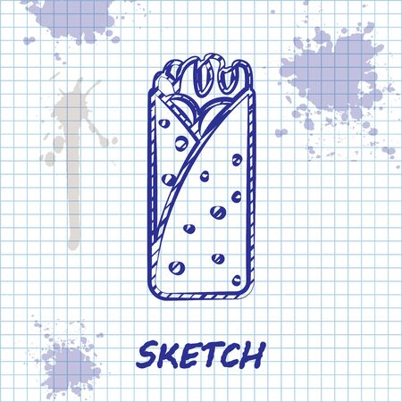 Sketch line Burrito icon isolated on white background. Traditional mexican fast food. Vector Illustration
