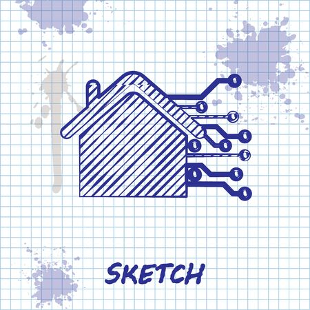 Sketch line Smart home icon isolated on white background. Remote control. Vector Illustration