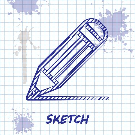 Sketch line Pencil and line icon isolated on white background. Education sign. Drawing and educational tools. School office symbol. Vector Illustration Ilustração