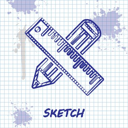 Sketch line Crossed ruler and pencil icon isolated on white background. Straightedge symbol. Drawing and educational tools. Vector Illustration Ilustração