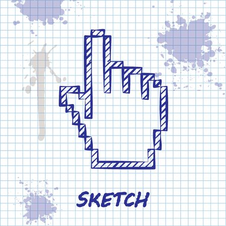 Sketch line Pixel hand cursor icon isolated on white background. Pointer hand cursor. Vector Illustration Çizim