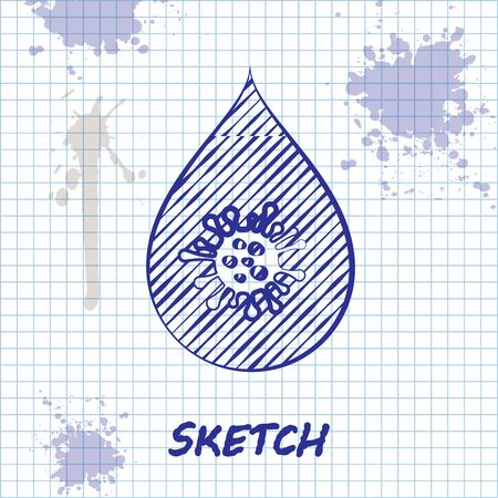 Sketch line Dirty water drop icon isolated on white background. Bacteria and germs, microorganism disease, cell cancer, microbe, virus, fungi. Vector Illustration
