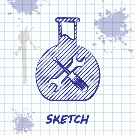 Sketch line Bioengineering with screwdriver and wrench icon isolated on white background. Adjusting, service, setting, maintenance, repair, fixing. Vector Illustration Иллюстрация