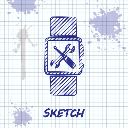 Sketch line Smartwatch with screwdriver and wrench icon isolated on white background. Adjusting, service, setting, maintenance, repair, fixing. Vector Illustration