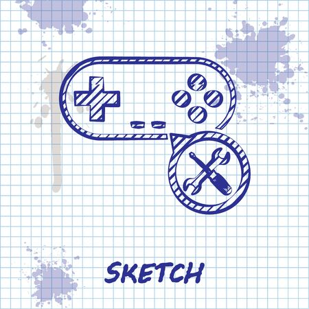 Sketch line Gamepad with screwdriver and wrench icon isolated on white background. Adjusting, service, setting, maintenance, repair, fixing. Vector Illustration