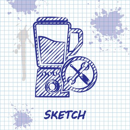 Sketch line Blender with screwdriver and wrench icon isolated on white background. Adjusting, service, setting, maintenance, repair, fixing. Vector Illustration Çizim