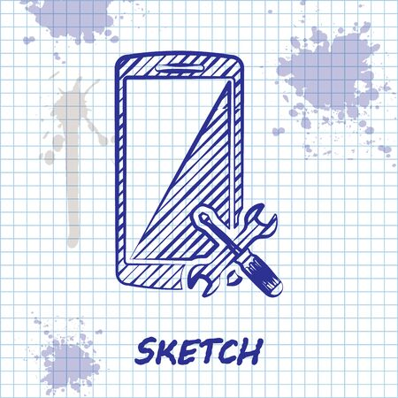 Sketch line Smartphone with screwdriver and wrench icon isolated on white background. Adjusting, service, setting, maintenance, repair, fixing. Vector Illustration