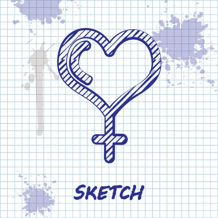 Sketch line Female gender symbol and heart icon isolated on white background. Venus symbol. The symbol for a female organism or woman. Vector Illustration Иллюстрация