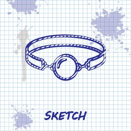 Sketch line Silicone ball gag with a leather belt icon isolated on white background. Fetish accessory. Sex toy for men and woman. Vector Illustration