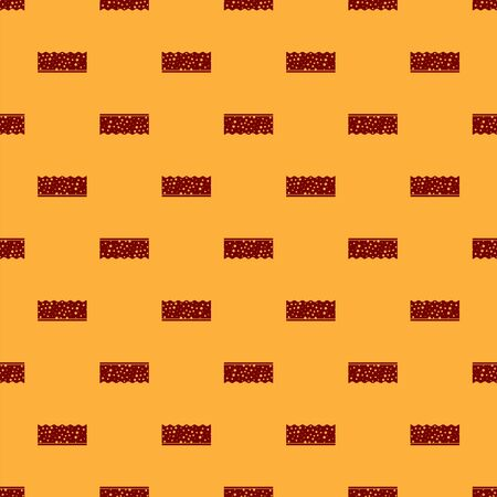 Red Sponge with bubbles icon isolated seamless pattern on brown background. Wisp of bast for washing dishes. Banque d'images - 130646070