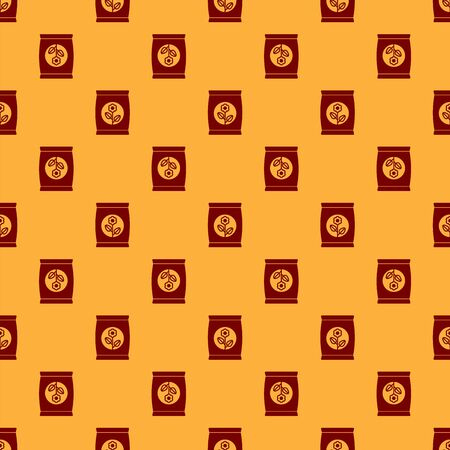 Red Fertilizer bag icon isolated seamless pattern on brown background. Vector Illustration