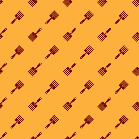 Red Garden fork icon isolated seamless pattern on brown background. Pitchfork icon. Tool for horticulture, agriculture, farming. Vector Illustration