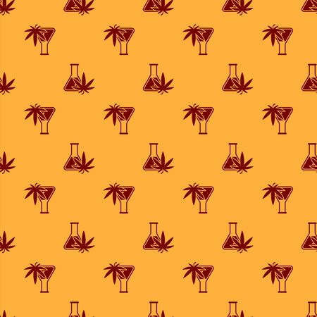 Red Chemical test tube with marijuana or cannabis leaf icon isolated seamless pattern on brown background. Research concept. Laboratory CBD oil concept. Vector Illustration