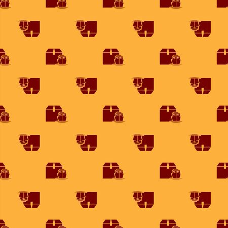Red Cargo ship with boxes delivery service icon isolated seamless pattern on brown background. Delivery, transportation. Freighter with parcels, boxes, goods. Vector Illustration Illustration