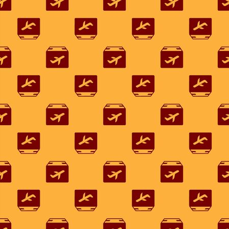 Red Plane and cardboard box icon isolated seamless pattern on brown background. Delivery, transportation. Cargo delivery by air. Airplane with parcels, boxes. Vector Illustration Foto de archivo - 130568932