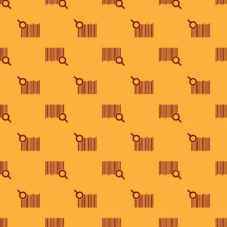 Red Search barcode icon isolated seamless pattern on brown background. Magnifying glass searching barcode. Barcode label sticker. Research barcode. Vector Illustration Foto de archivo - 130568934