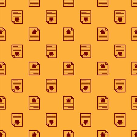 Red House contract icon isolated seamless pattern on brown background. Contract creation service, document formation, application form composition. Vector Illustration