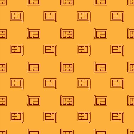 Red House plan icon isolated seamless pattern on brown background. Vector Illustration Stock Illustratie
