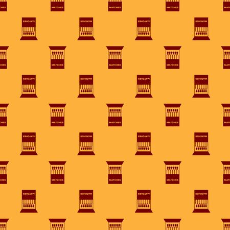 Red Open matchbox and matches icon isolated seamless pattern on brown background. Vector Illustration Illustration