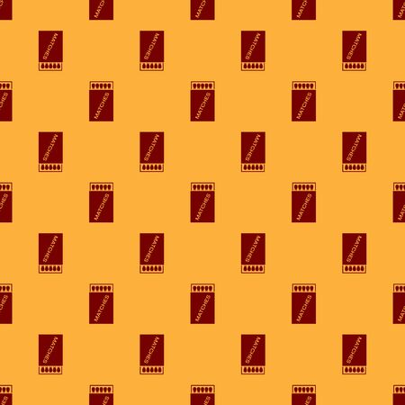 Red Open matchbox and matches icon isolated seamless pattern on brown background. Vector Illustration Çizim