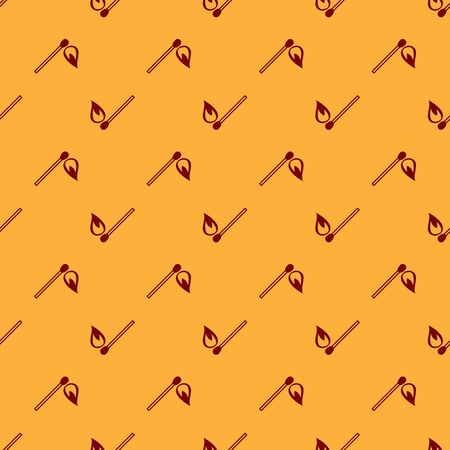 Red Burning match with fire icon isolated seamless pattern on brown background. Match with fire. Matches sign. Vector Illustration