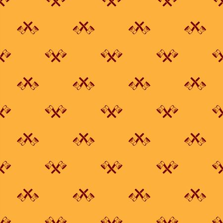 Red Crossed wooden axe icon isolated seamless pattern on brown background. Lumberjack axe. Vector Illustration