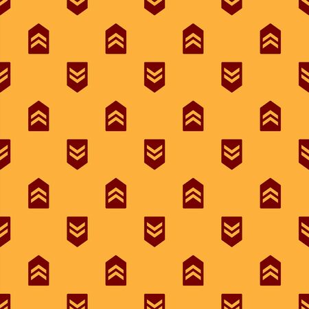 Red Chevron icon isolated seamless pattern on brown background. Military badge sign. Vector Illustration