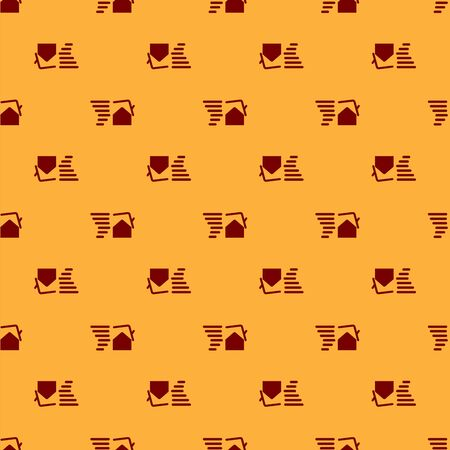 Red Tornado swirl damages house roof icon isolated seamless pattern on brown background. Cyclone, whirlwind, storm funnel, hurricane wind icon. Vector Illustration