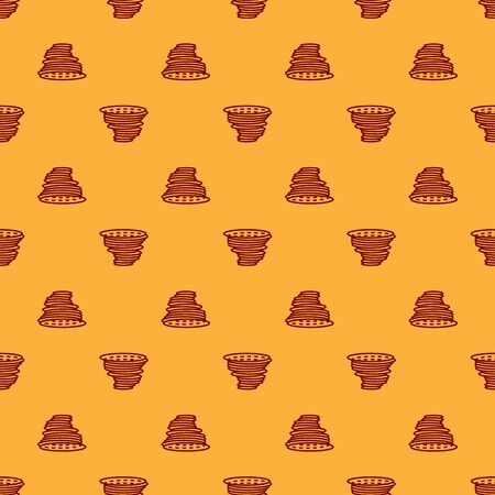 Red Tornado icon isolated seamless pattern on brown background. Cyclone, whirlwind, storm funnel, hurricane wind or twister weather icon. Vector Illustration