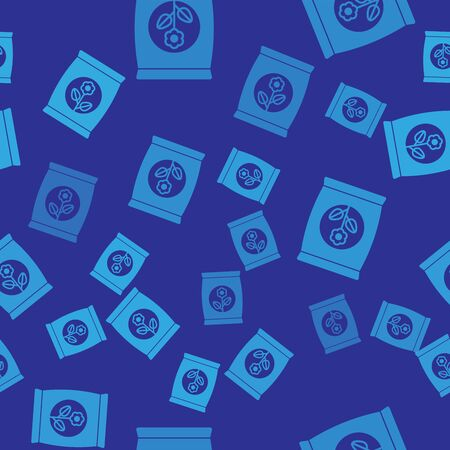 Blue Fertilizer bag icon isolated seamless pattern on blue background. Vector Illustration