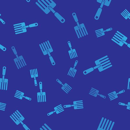 Blue Garden fork icon isolated seamless pattern on blue background. Pitchfork icon. Tool for horticulture, agriculture, farming. Vector Illustration Illustration