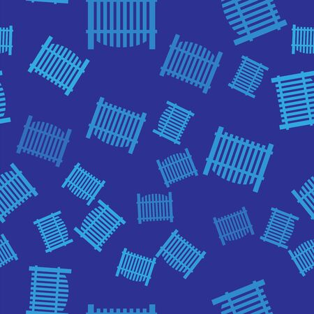 Blue Garden fence wooden icon isolated seamless pattern on blue background. Vector Illustration Ilustrace