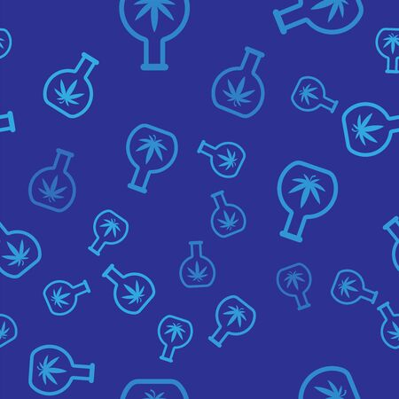 Blue Chemical test tube with marijuana or cannabis leaf icon isolated seamless pattern on blue background. Research concept. Laboratory CBD oil concept. Vector Illustration