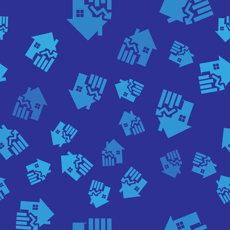 Blue Rising cost of housing icon isolated seamless pattern on blue background. Rising price of real estate. Residential graph increases. Vector Illustration