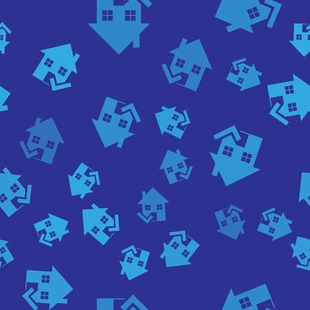 Blue House with check mark icon isolated seamless pattern on blue background. Real estate agency or cottage town elite class. Vector Illustration Illustration