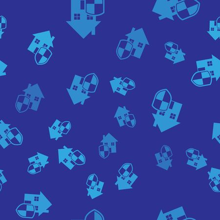 Blue House under protection icon isolated seamless pattern on blue background. Home and shield. Protection, safety, security, protect, defense concept. Vector Illustration