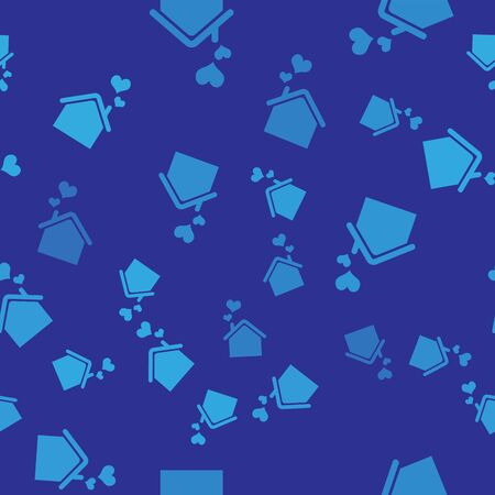Blue House with heart shape icon isolated seamless pattern on blue background. Love home symbol. Family, real estate and realty. Vector Illustration
